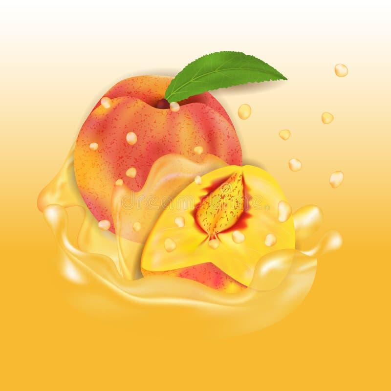 De plons van het perziksap E r stock illustratie