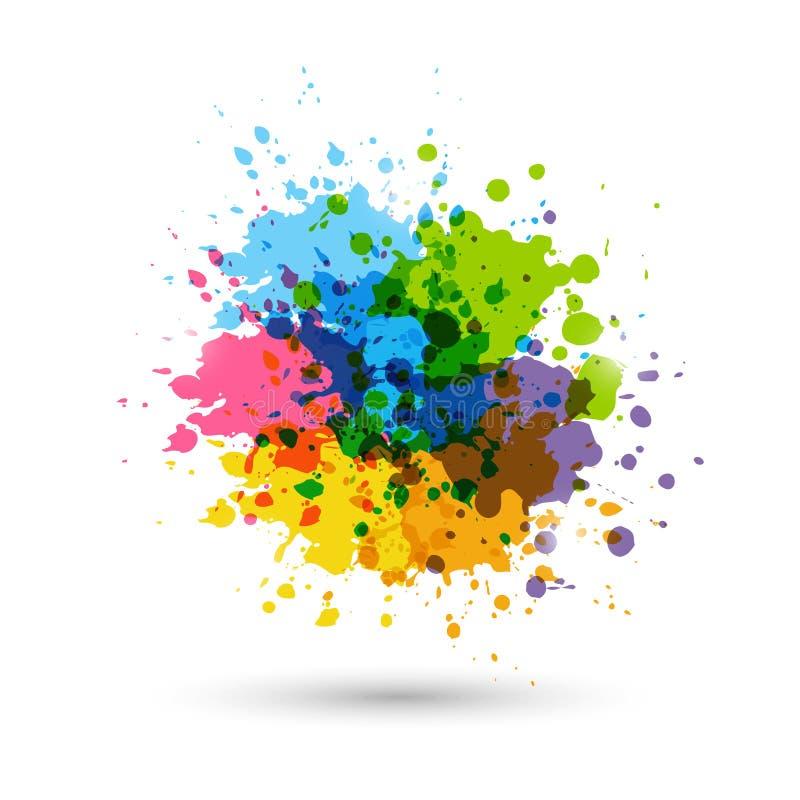 De plonsen van de regenboogverf royalty-vrije illustratie