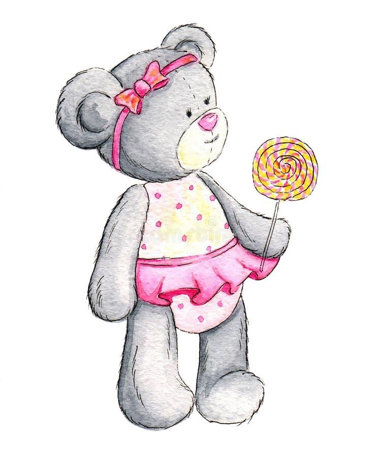 De pluche draagt met geel-roze lollypop royalty-vrije illustratie