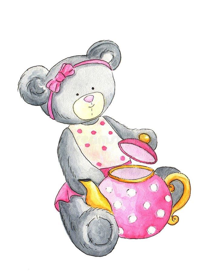 De pluche draagt met roze theepot vector illustratie