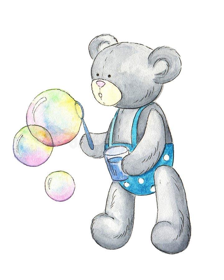De pluche draagt met zeepbels vector illustratie