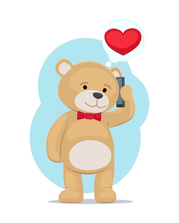 De pluche draagt Toy Speaking op Telefoon met zijn Liefde stock illustratie