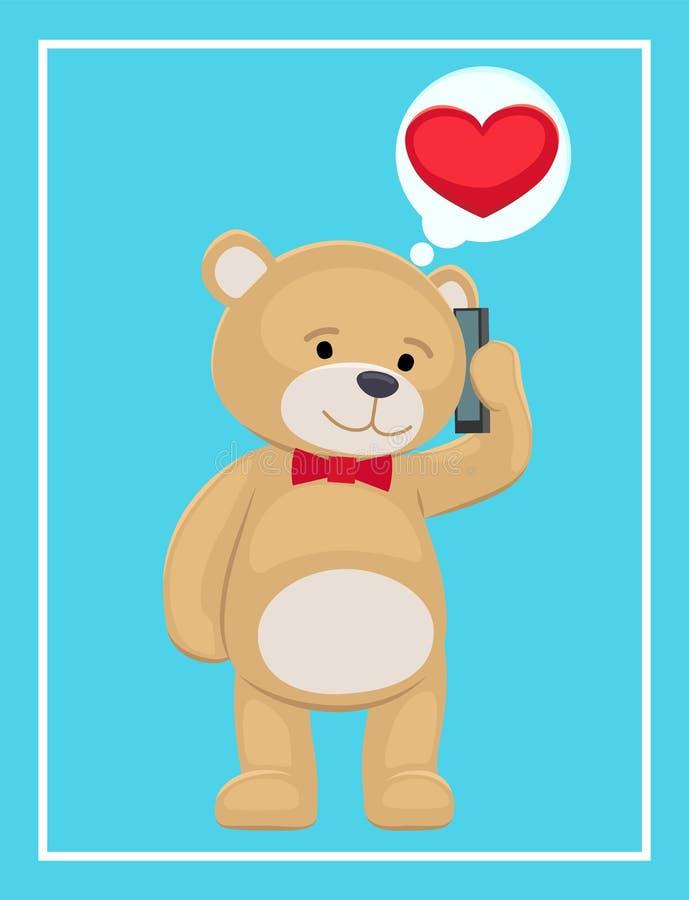 De pluche draagt Toy Speaking op Telefoon met zijn Liefde royalty-vrije illustratie