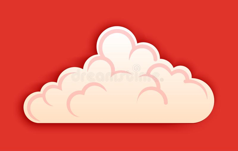 De pluizige wolk, vector clipart cutted binnen stijl op rode achtergrond stock illustratie