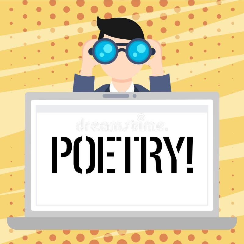 De Poëzie van de handschrifttekst Concept die het Literaire werkuitdrukking van gevoelsideeën betekenen met ritmegedichten die de vector illustratie