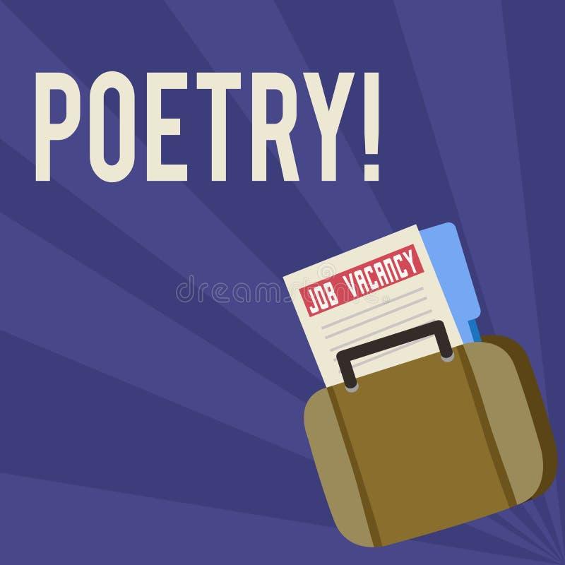 De Poëzie van de handschrifttekst Concept die het Literaire werkuitdrukking van gevoelsideeën betekenen met ritmegedichten het sc stock illustratie