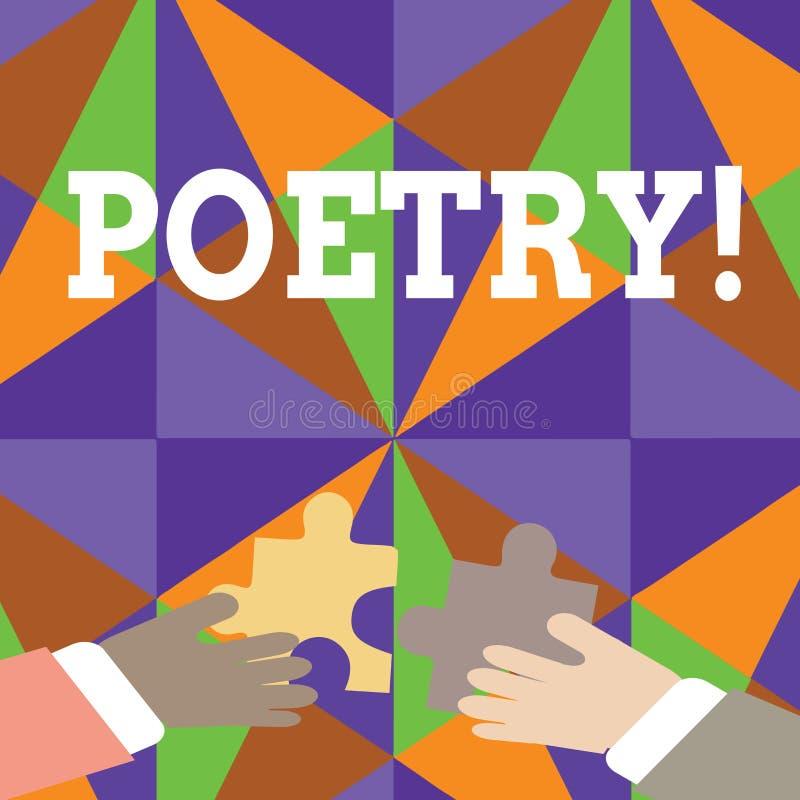 De Poëzie van de handschrifttekst Concept die het Literaire werkuitdrukking van gevoelsideeën betekenen met ritmegedichten die Tw stock illustratie