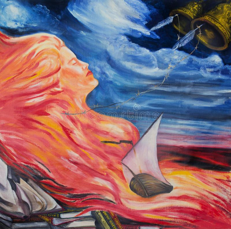 De poëzie wordt vergeleken bij brand, water en wind stock illustratie