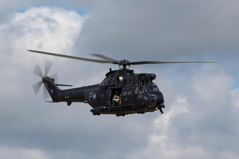 De Poemahc2 Helikopter van Royal Air Force RAF Aerospatiale sa-330E in RAF Fairford royalty-vrije stock afbeelding