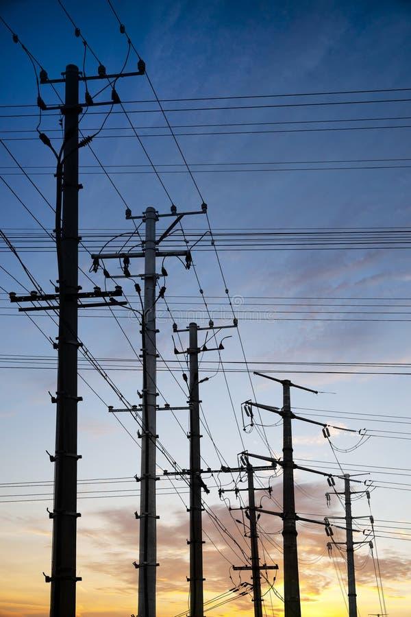 De polen van de elektriciteit royalty-vrije stock afbeeldingen