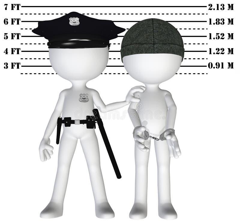 De politie arresteert misdadige cop perp misdaadrechtvaardigheid royalty-vrije illustratie