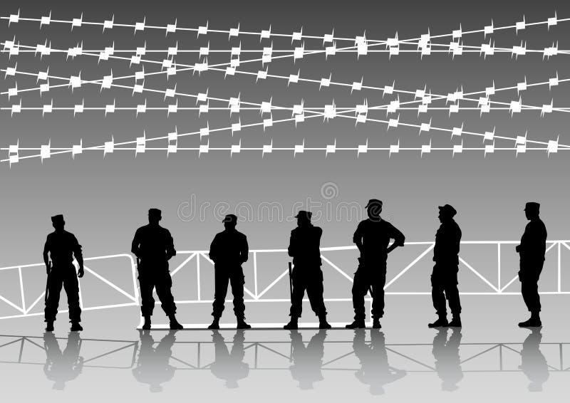 De politie bemant en omheining stock illustratie