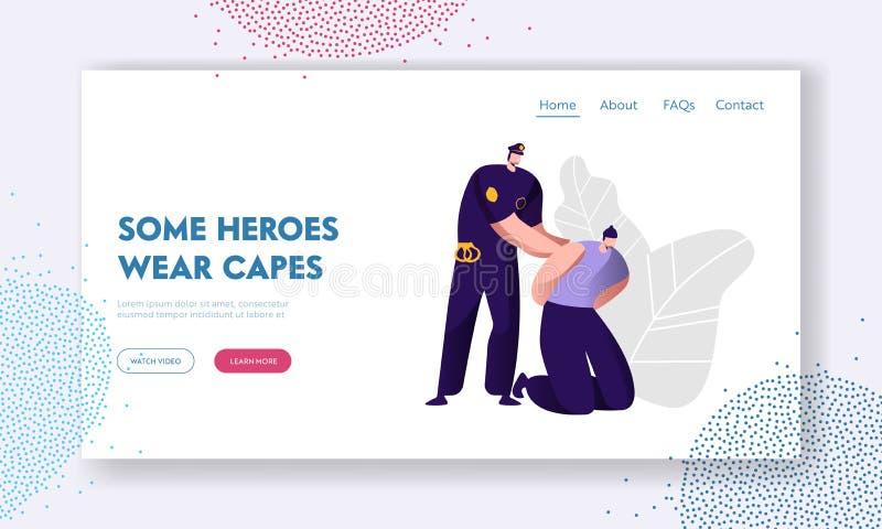 De politieagent arresteert Dief Cop in Eenvormig op het Werk, het Concept van de Wetsbescherming, Professionele Veiligheidscontro vector illustratie