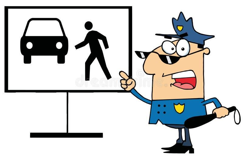De politieagent toont hoe niet te kruisen royalty-vrije illustratie