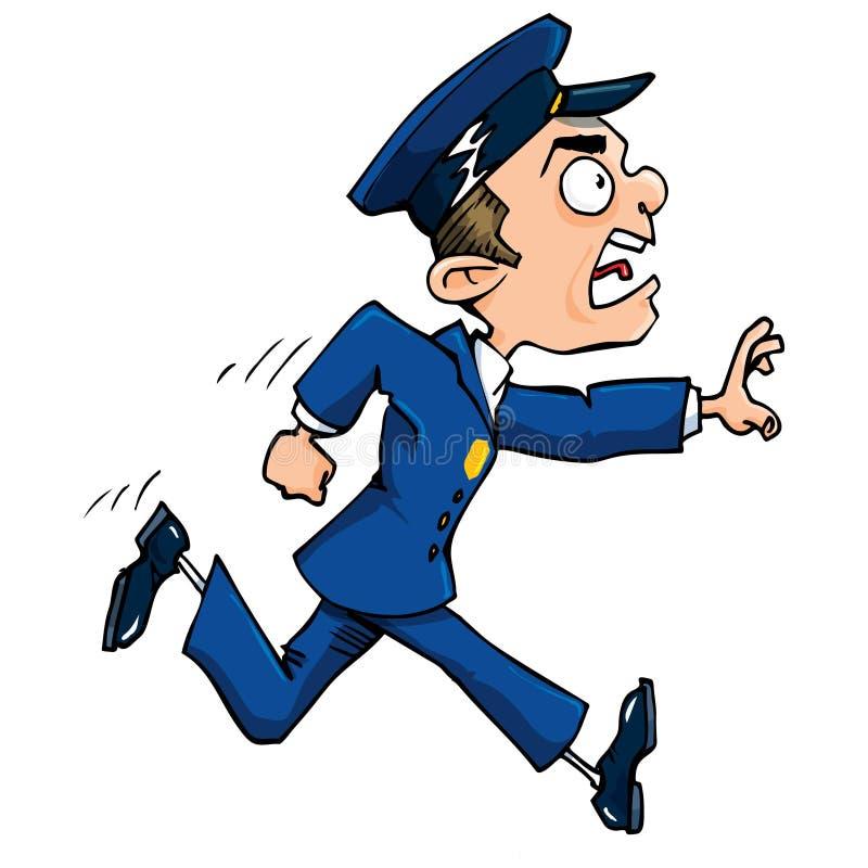 De politieagent van het beeldverhaal het lopen royalty-vrije illustratie