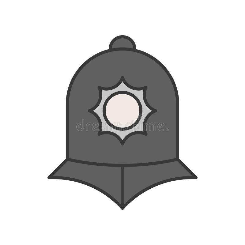 De de politiehelm van Engeland, politie bracht editable stro van het overzichtspictogram met elkaar in verband vector illustratie