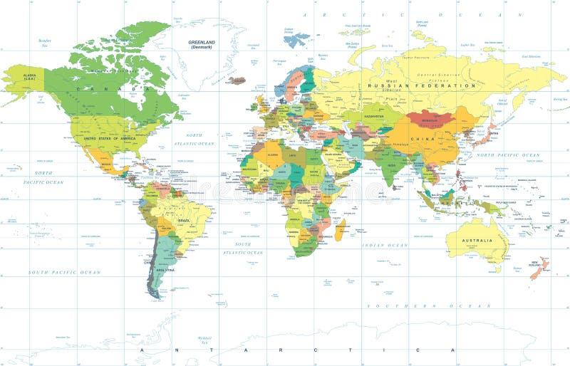 De politieke Gekleurde Vector van de Wereldkaart stock illustratie