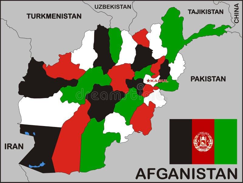 De Politieke Kaart van Afghanistan stock illustratie