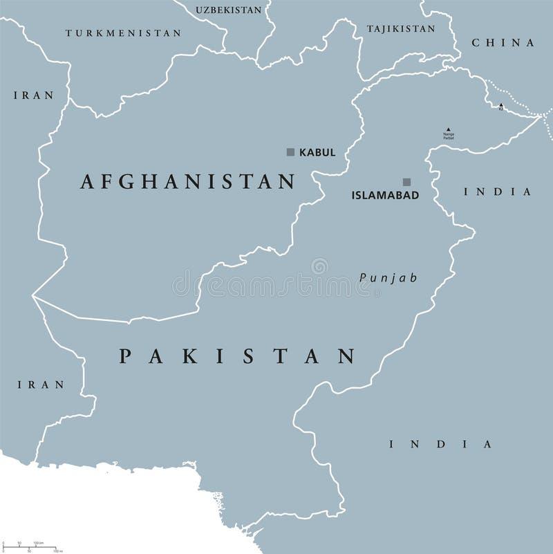 De politieke kaart van Afghanistan en van Pakistan stock illustratie
