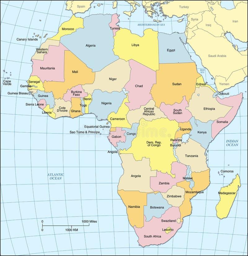 De Politieke Kaart van Afrika stock illustratie