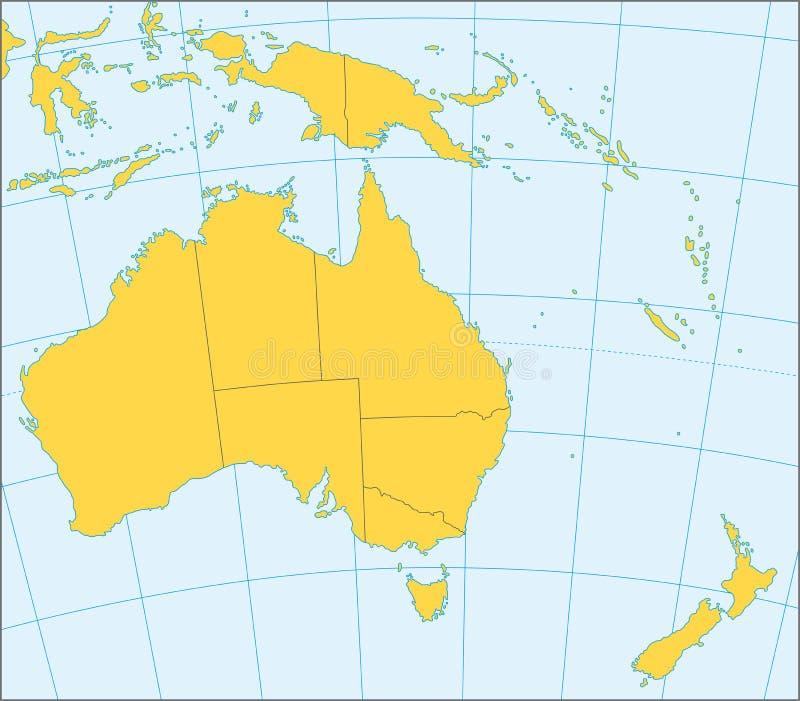 De politieke kaart van Australië en van Oceanië