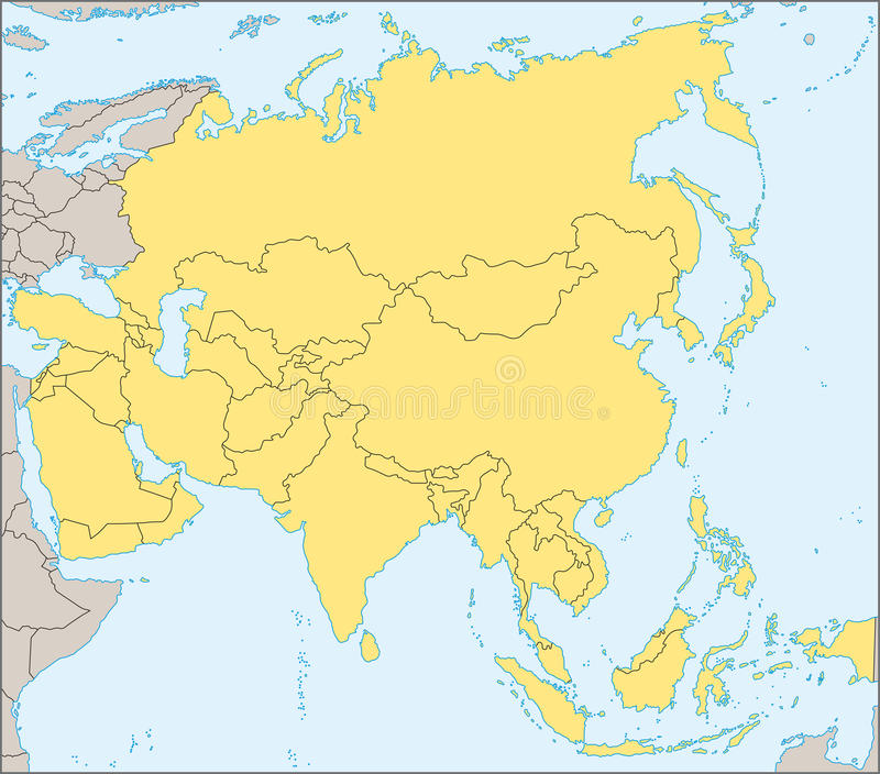 De politieke kaart van Azië royalty-vrije illustratie