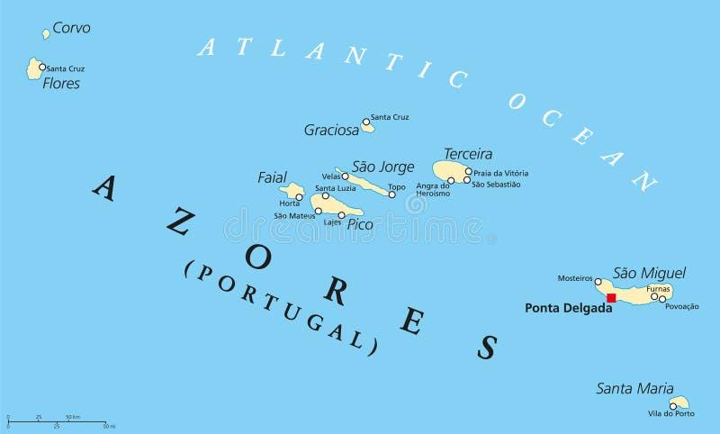 De politieke kaart van de Azoren royalty-vrije illustratie