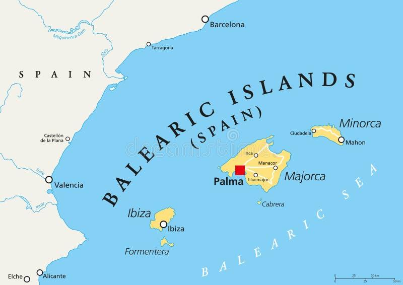 De politieke kaart van de Balearen royalty-vrije illustratie