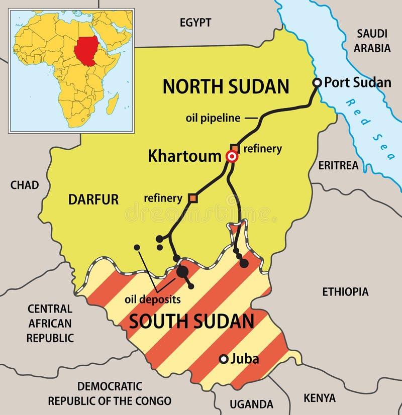 De politieke kaart van de Soedan royalty-vrije illustratie