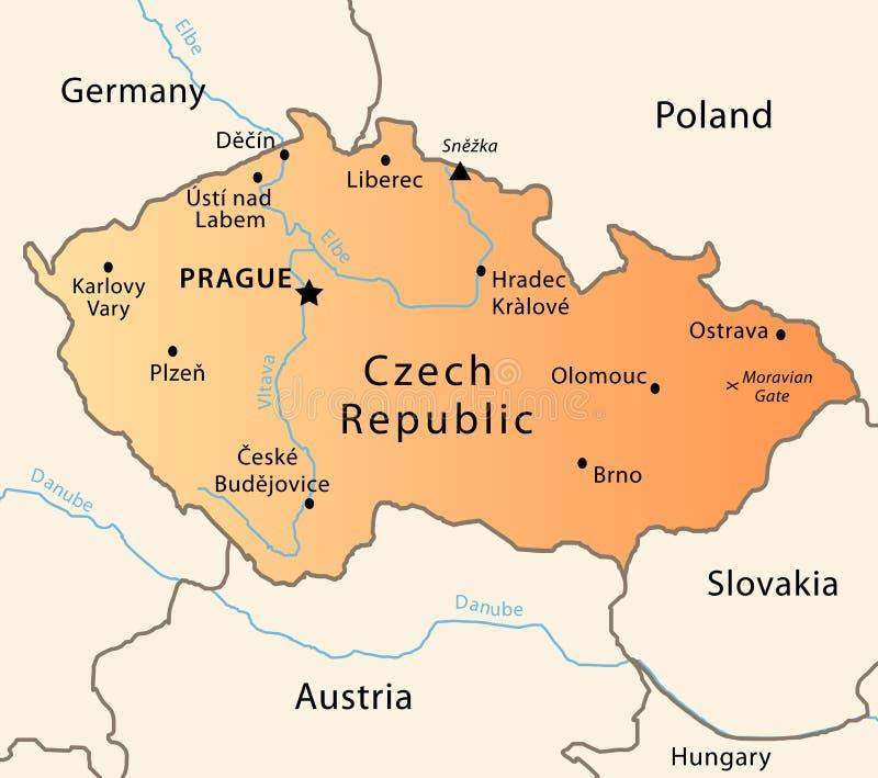 De politieke kaart van de Tsjechische Republiek stock illustratie