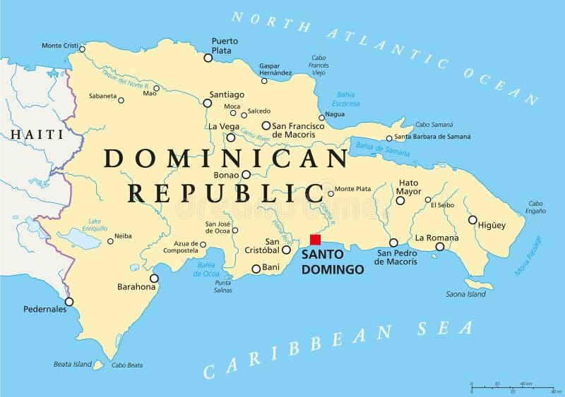 De politieke kaart van de Dominicaanse Republiek royalty-vrije illustratie