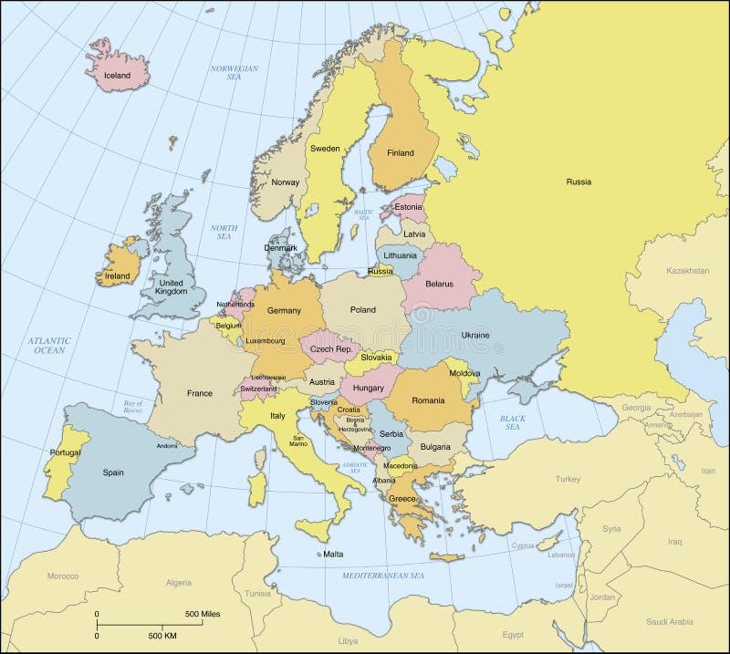 De Politieke Kaart van Europa vector illustratie