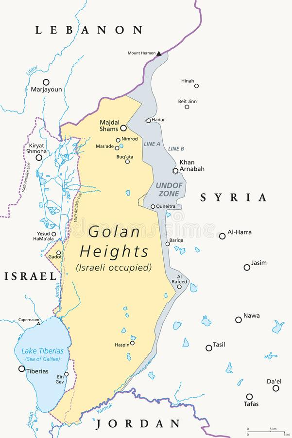 De politieke kaart van Golan Heights stock illustratie