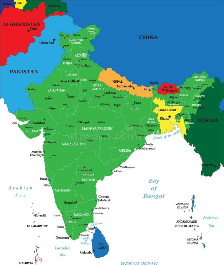 De politieke kaart van India royalty-vrije illustratie
