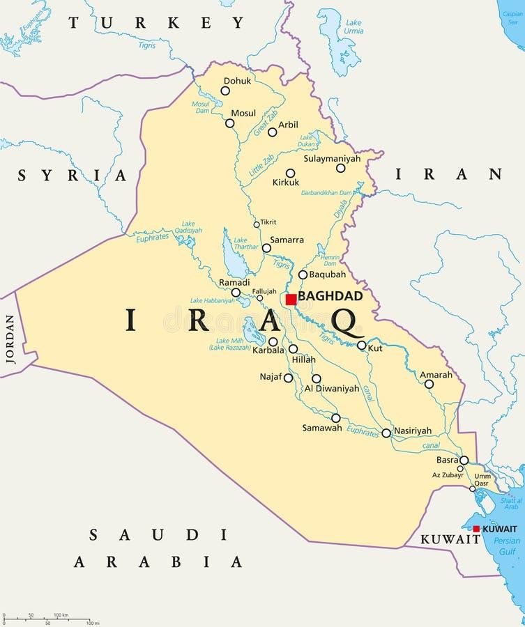 De politieke kaart van Irak stock illustratie