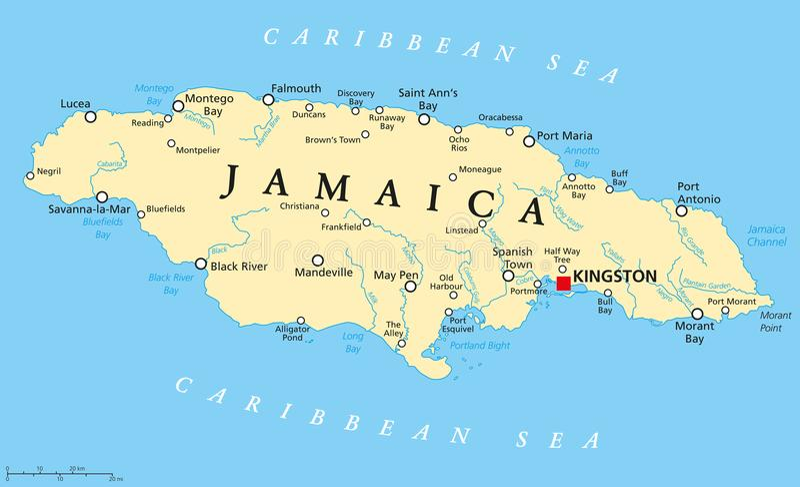 De politieke kaart van Jamaïca stock illustratie