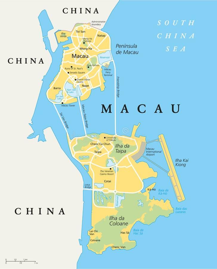 De politieke kaart van Macao stock illustratie