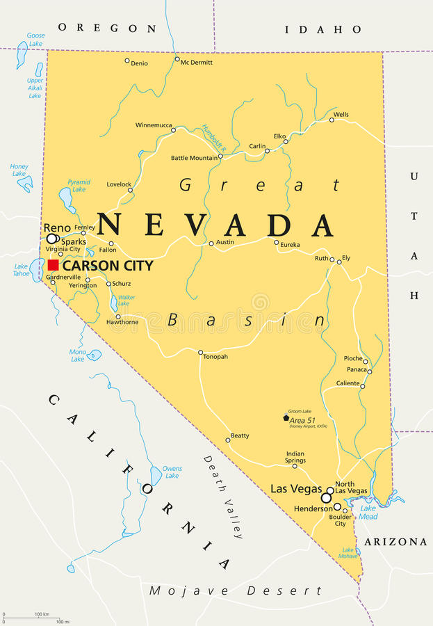 De politieke kaart van Nevada royalty-vrije illustratie