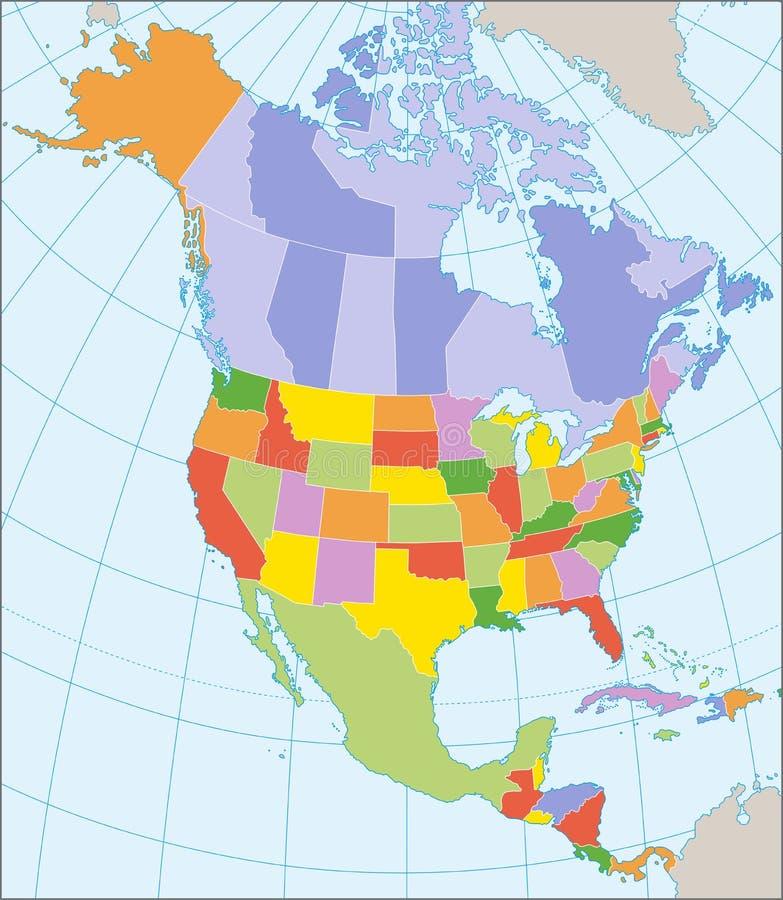 De politieke kaart van Noord-Amerika vector illustratie