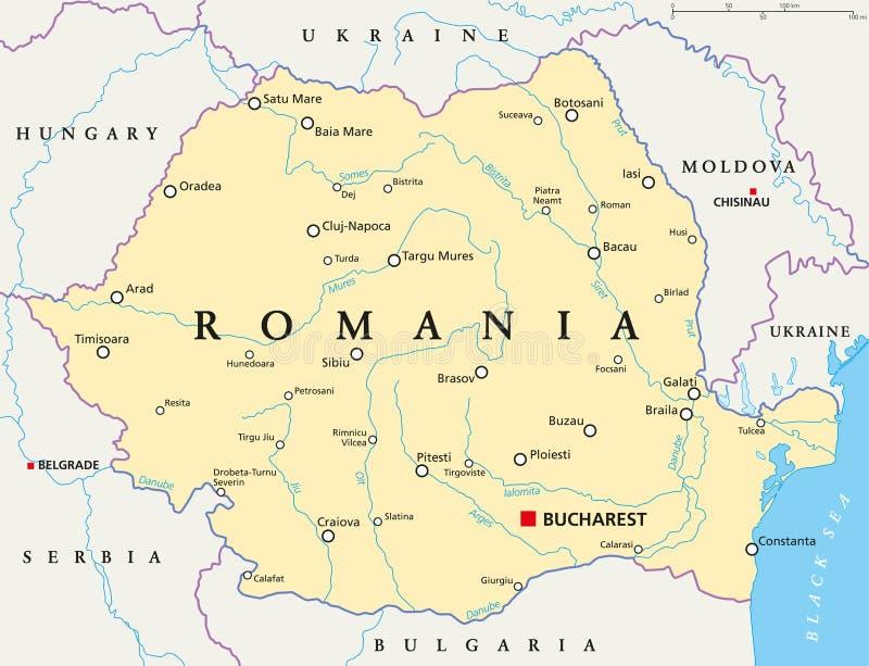 De Politieke Kaart van Roemenië stock illustratie