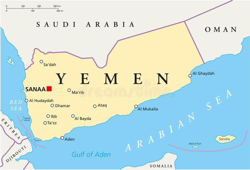 De Politieke Kaart van Yemen royalty-vrije illustratie