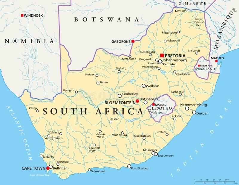 De politieke kaart van Zuid-Afrika royalty-vrije illustratie