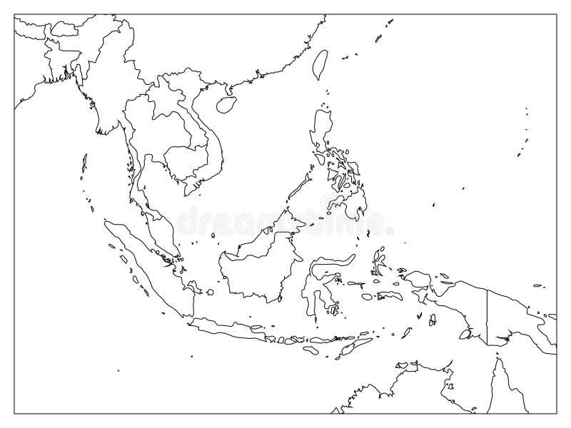 De politieke kaart van Zuidoost-Azië Zwart overzicht op witte achtergrond Eenvoudige vlakke vectorillustratie vector illustratie