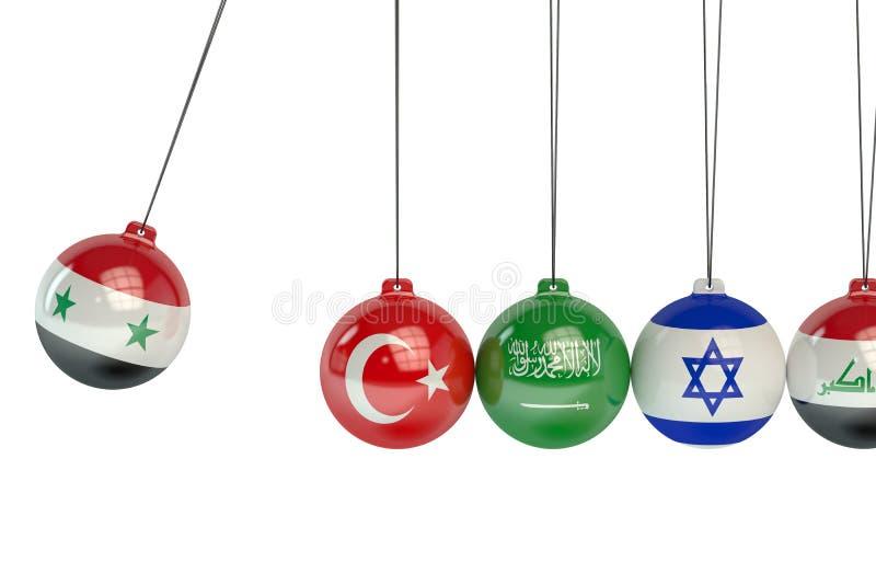 De politieke oorlog van Syrië, van Turkije, van Saoediger, van Arabië, van Israël en van Irak confl stock illustratie