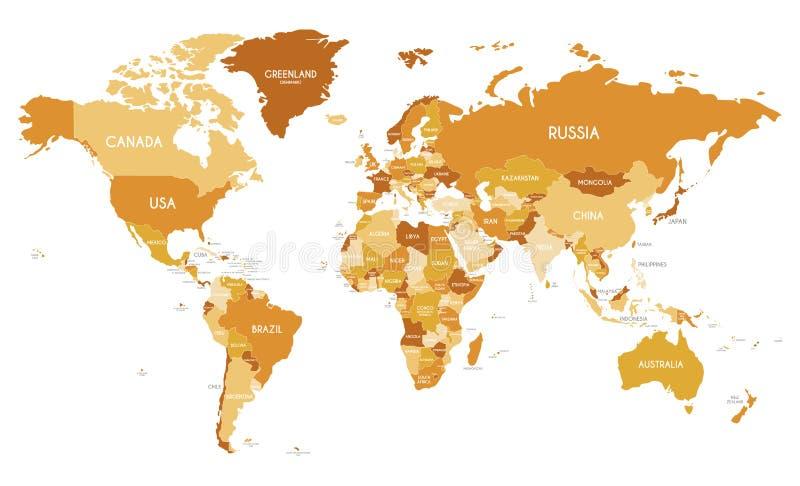 De politieke vectorillustratie van de Wereldkaart met verschillende tonen van sinaasappel voor elk land stock illustratie