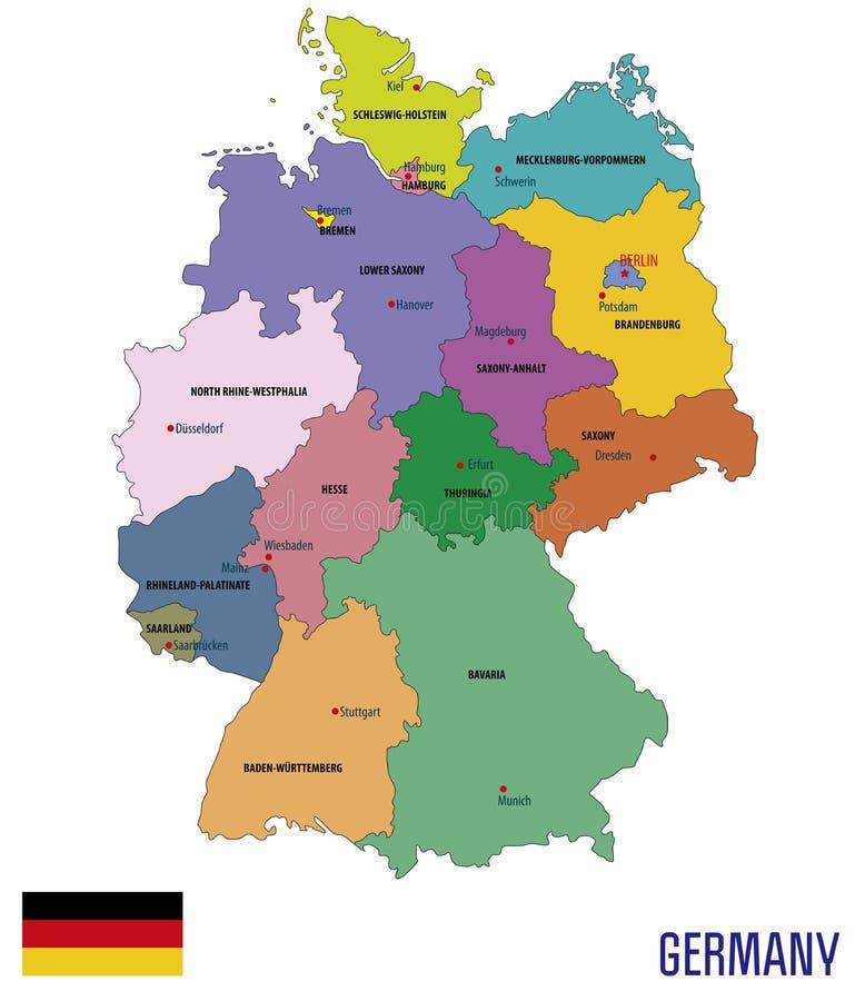 De politieke vectorkaart van Duitsland met gebieden stock illustratie