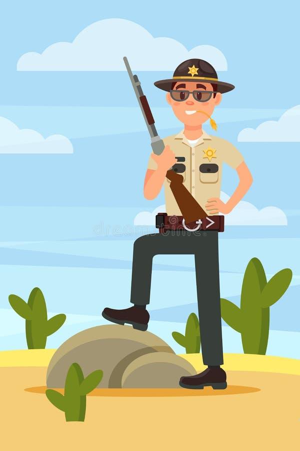 De politiemankarakter van de stads mannelijk sheriff in officiële eenvormige status met geweer in de woestijn vectorillustratie vector illustratie