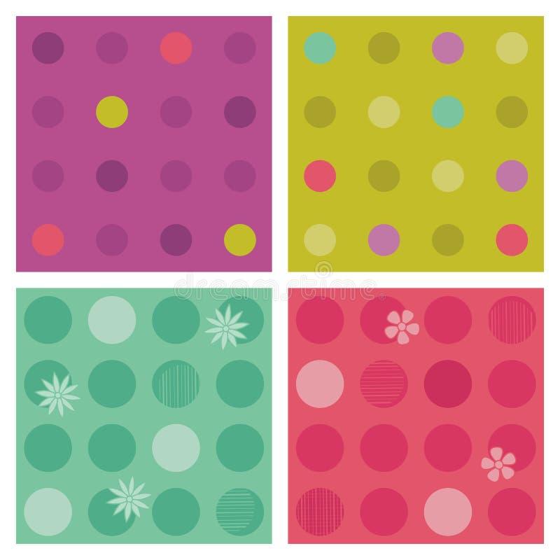 De polka-punt herhaalt patronen (naadloze achtergronden) royalty-vrije illustratie