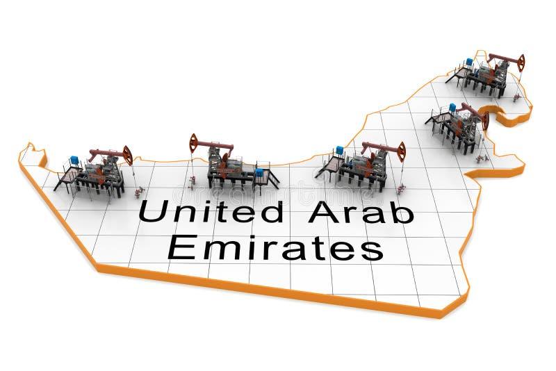 De pomp-hefbomen van de olie op een kaart van Verenigde Arabische Emiraten royalty-vrije illustratie