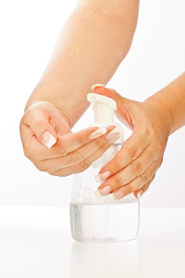 De pomp van het de zeepgel van de hand stock afbeelding